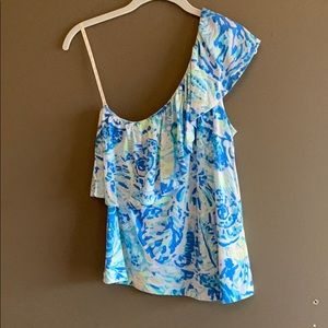 NWOT Lilly Pulitzer Ruffled One Shoulder Tank - S